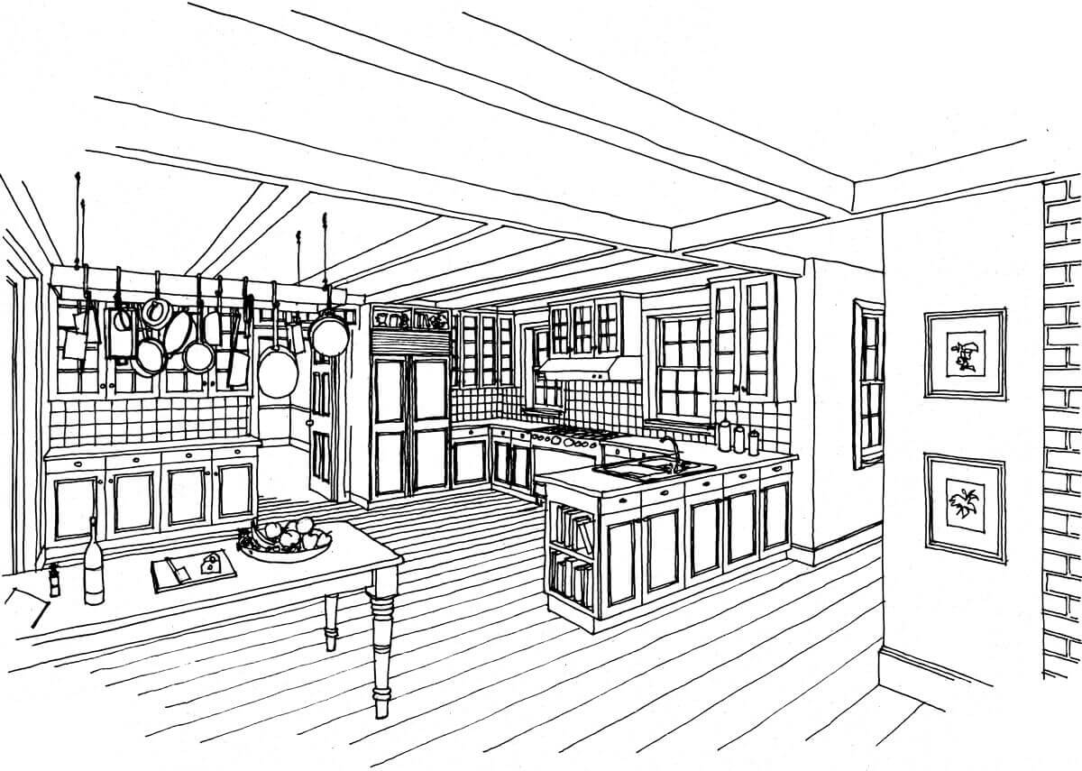 Interior sketches are also useful in develop the look of rooms, such as this country-style kitchen