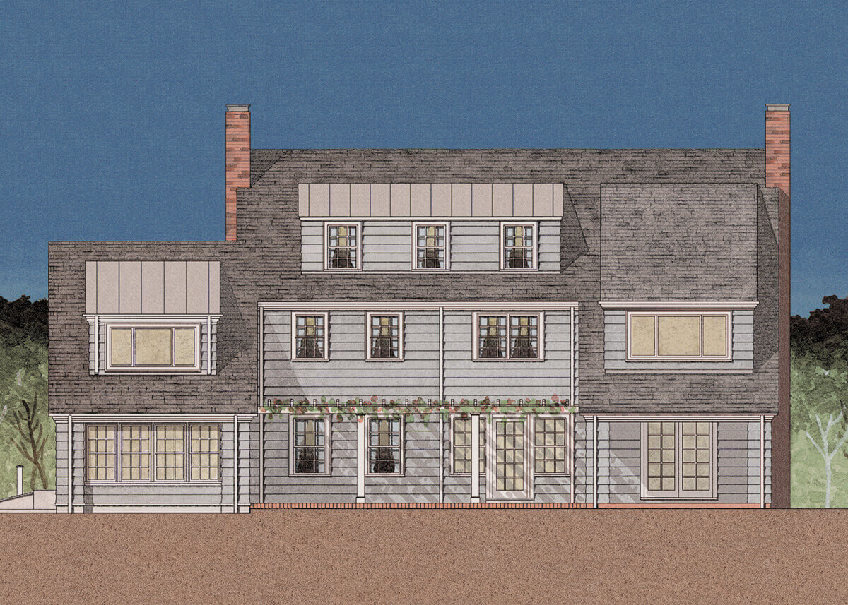 Kitchen/Family room addition to a colonial rear elevation