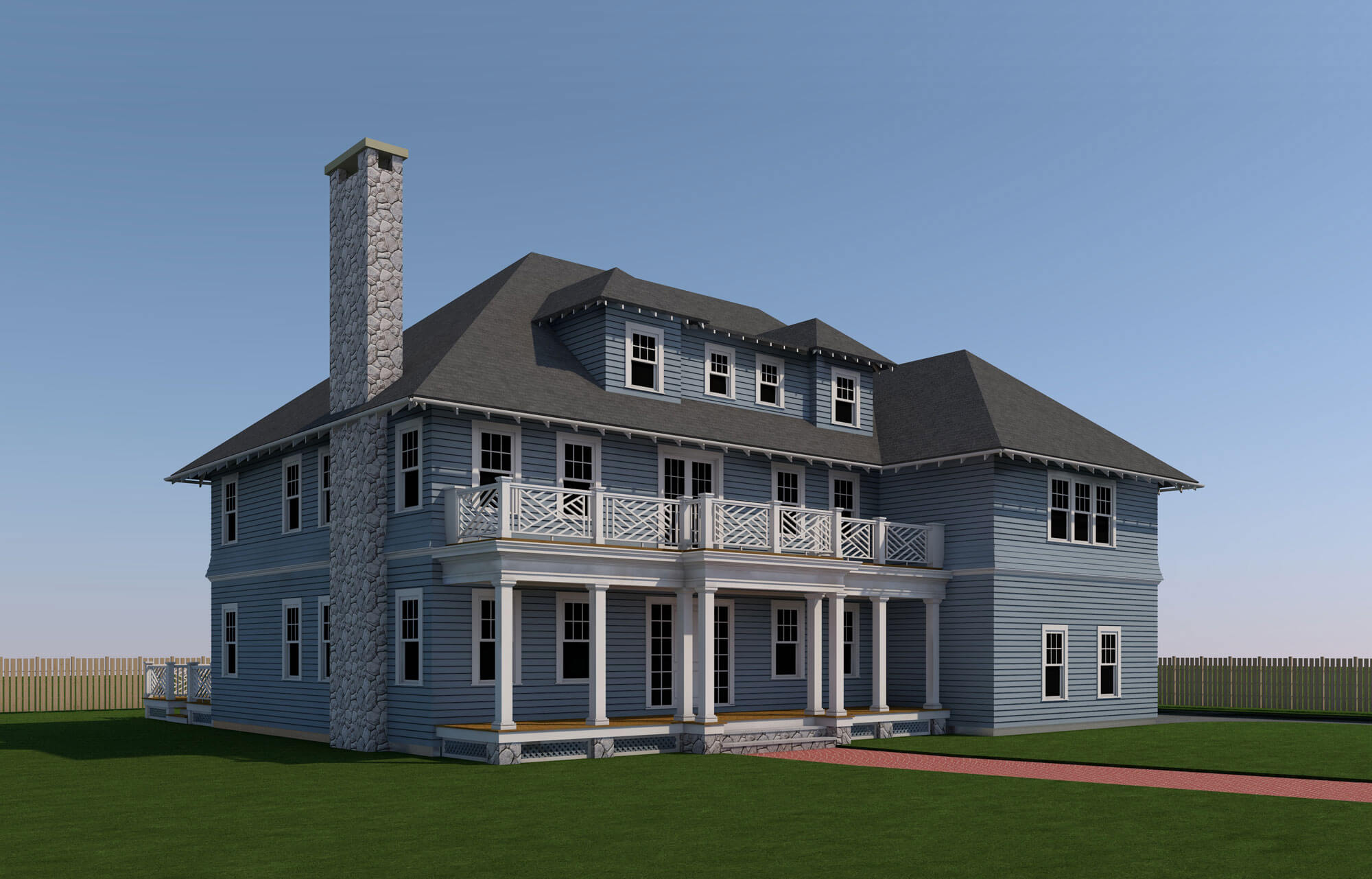 NEW CRAFTSMAN STYLE COLONIAL REVIVAL HOUSE